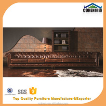 Super quality hot selling retro vintage chesterfield import dark tan brown genuine leather 6seater Long sofa