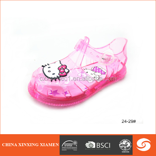 2015 Top sale transparent pink kid shoe child kid jelly sandal