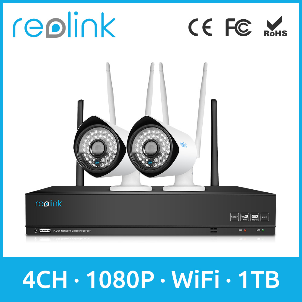 Reolink Security Camera System Wireless 4ch Full HD 1080P WiFi NVR Kit w 2 Bullet WiFi IP Cameras RLK4-210WB2