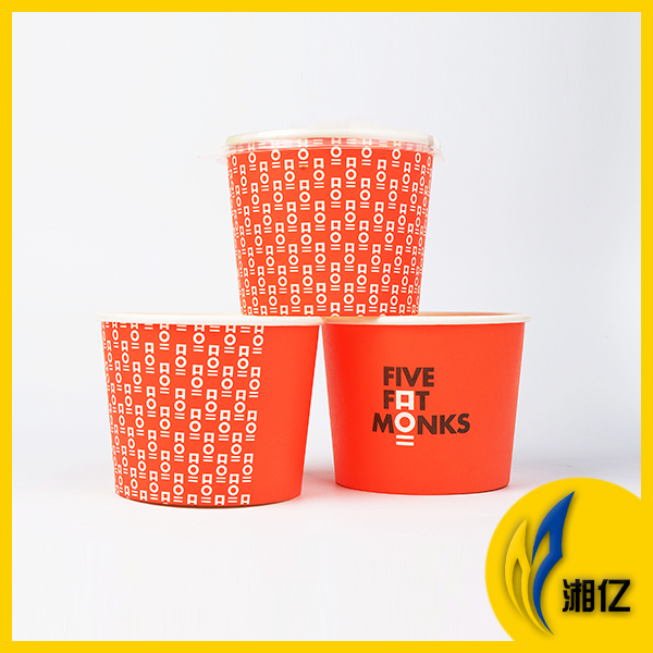 Disposable hot soup food paper bowl with plastic lid
