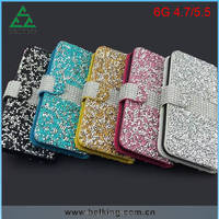 For iPhone 6 Full Diamonds Cover Leather Wallet Case Shockproof Case For iPhone 4.7'' 5.5''