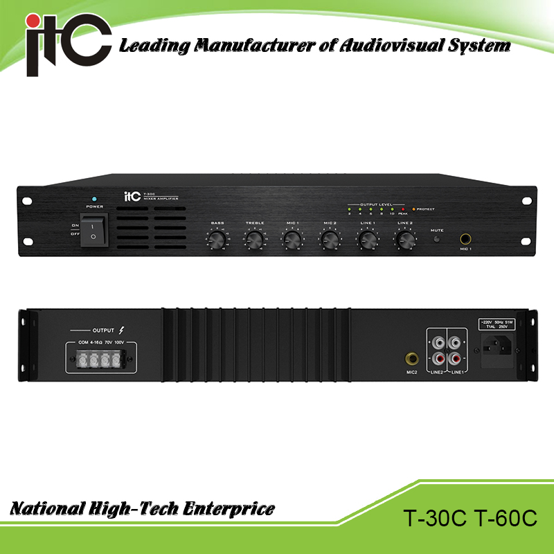 ITC T-30C Series Economical 30W 60W Support 2 Line and 2 Mic Input PA System Integrated Amplifier