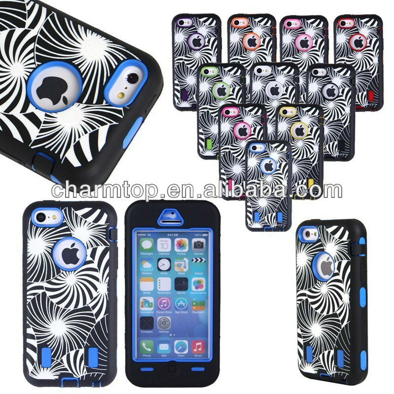 100% Brand New PC Silicone Hybrid Case For iPhone 5C