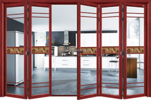 Heat Transfer Printing Aluminum Frame with grills and double glazing glass big folding door
