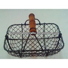 Rustic antique chicken wire fruit mesh weave decorative baskets,wood handle