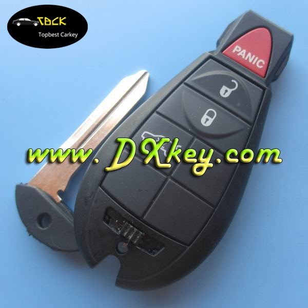 Commonly used car key with 3+1 button remote shell key with 433mhz ID46 CHIP with big logo for chrysler 300c remote key