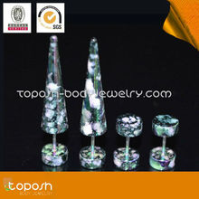 POPULAR !Marble Acrylic Fake Ear Taper Piercing Jewelry