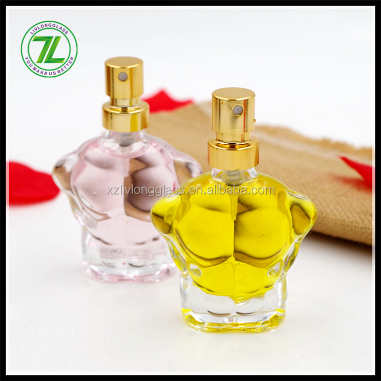 20ml Mini Man Body Shaped Clear Perfume Glass Bottle