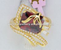 QR255 fine jewelry finger ring for women,purity&quality ensure 21k gold finger ring with garnet