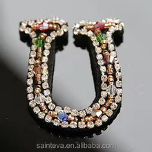 Stock available handmade rhinestone beaded letter UV decoration rhinestone sewed on shoes decoration patch