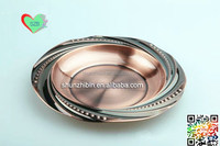 Wholesale stainless steel pearl round tray Fashion Design food fruit serving plate