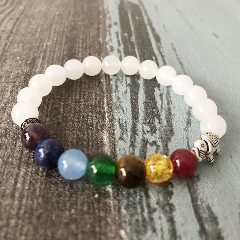 SN0870 7 Chakra Bracelet For Women Beads White Jade jewelry elephant stretch bracelet gift for girlfriend