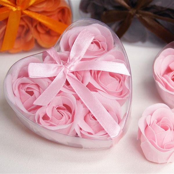Pink 6pcs Rose Shape Soap <strong>Flower</strong>