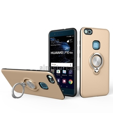 Hybrid PC TPU Hard Phone Cases Inlay 360 Ring Holder Back Cover For Huawei P10 Lite Case 2 in 1
