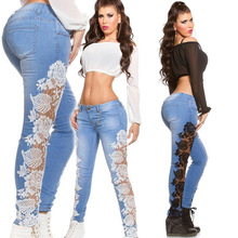 Colombia Embroidery Denim Designs Sexy Girls Fancy Lace Splice Jeans