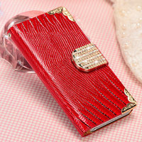 Rhine stone bling bling fashion mobile phone pouch case for Iphone 5 5S leather wallet