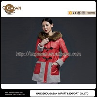 Ladies Winter Fur Hooded Leather Overcoat