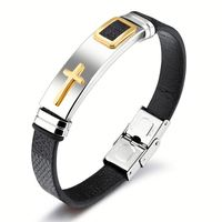 Fashion Jewellery Wholesale Watch Clasp Women's Leather Gold Cross Bracelet