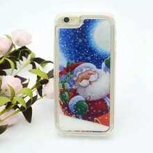 Merry Christmas Santa Claus Glitter Star Flowing Liquid Case For iPhone 5 5S 6 6Plus Christmas Tree Transparent