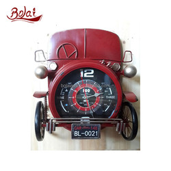 BSCI china factory dark red two wheel clock model car