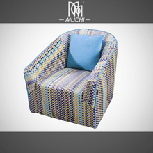 Modern Living Room Furniture Colour Stripe Fabric Love Chair Sofa With Wing