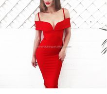 Hot sales style stripe sleeveless bodycon in red color sexy bandage dress