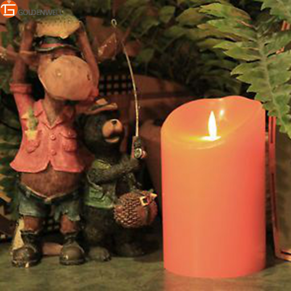 Luminara 5 Inch Orange Thanksgiving Wax Flickering Led Pillar Candles