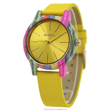 Mix color bamboo watches genuine leather strap colorful wood watch Japan quartz movt