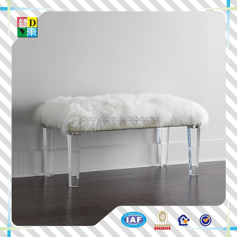 2016 home decor fabric ottoman acrylic leg sit up bench/ High Polished Clear acrylic bench leg