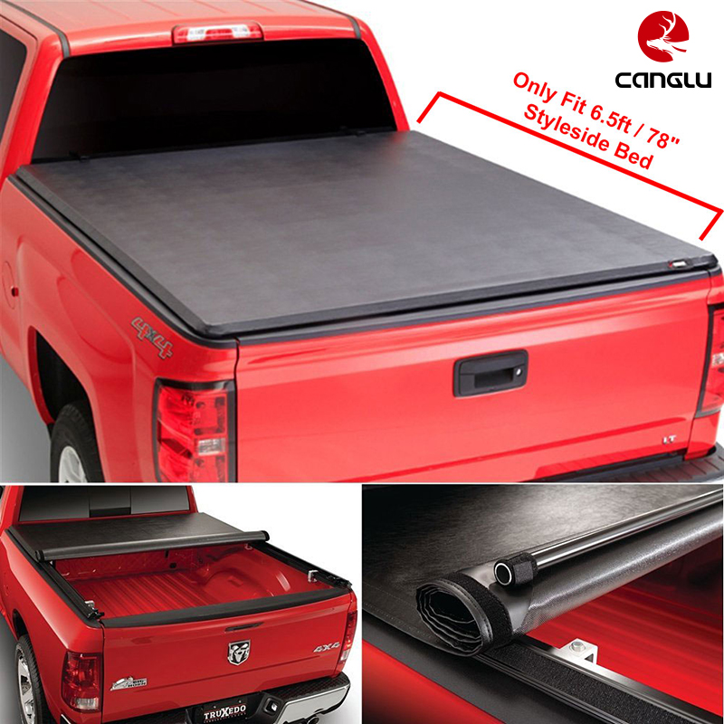"Roll-up Top Mount Tonneau Cover w/ Rails+Necessary Mounting Hardware Fit 97-03 F150 Pickup w/ 6.5ft (78"") Styleside Bed"