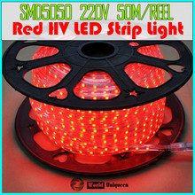 AC220-240V 14.4W High Lumen 60leds/m Waterproof Red SMD5050 Sign Illumination LEDs High Voltage LED Strip Light