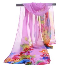 Wholesale Sublimation Flower Printing Chiffon Silk Scarf Bound Scarf Supplier