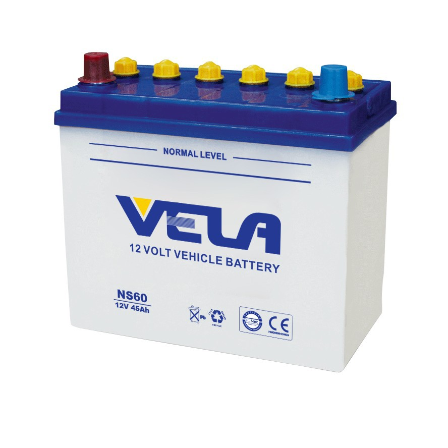 JIS series NS60 12V 45ah Dry Charged Battery Starting Auto Battery VELA super peformance batteries