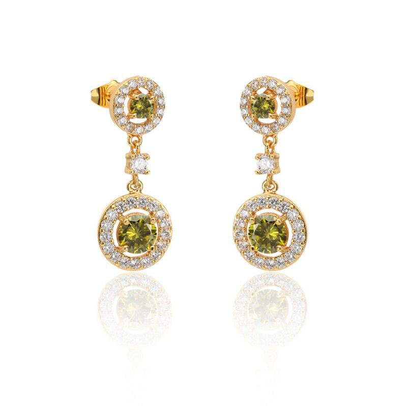 Romantic AAA+ tea grenn cubic zirconia dangling earring yellow gold plated jewelry