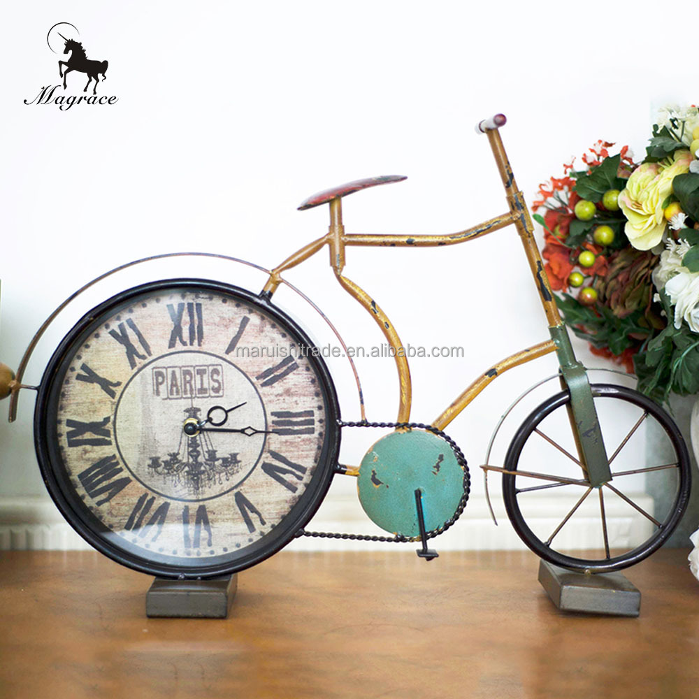 Antique Europe Bicycle round clock, desk clock, desk table clock 10inch dial quartz analog