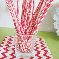 Red chevron stripe drinking straws - zig zag cake pop sticks vintage party straws
