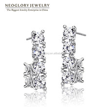 Neoglory AAA Zircon Rose Gold Plated Platinum Plated High Quality Fashion Stud Earrings for Women 2016 New Fashion Jewelry