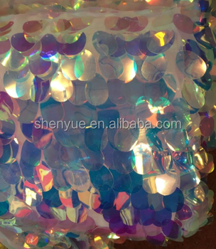 18mm colorful big size PET sequin with mesh sequin fabric