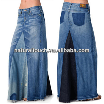 Women fashion long wash denim skirt casual maxi skirt (NTF04105)