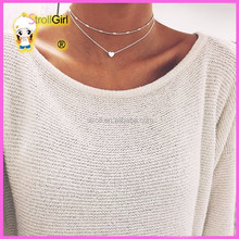 2017 trending products ladies love Silver Heart Chain Choker