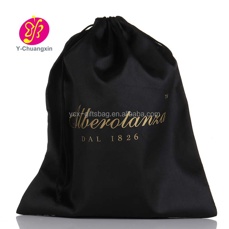 2017 large custom black silk satin hair extension packaging pouch bags
