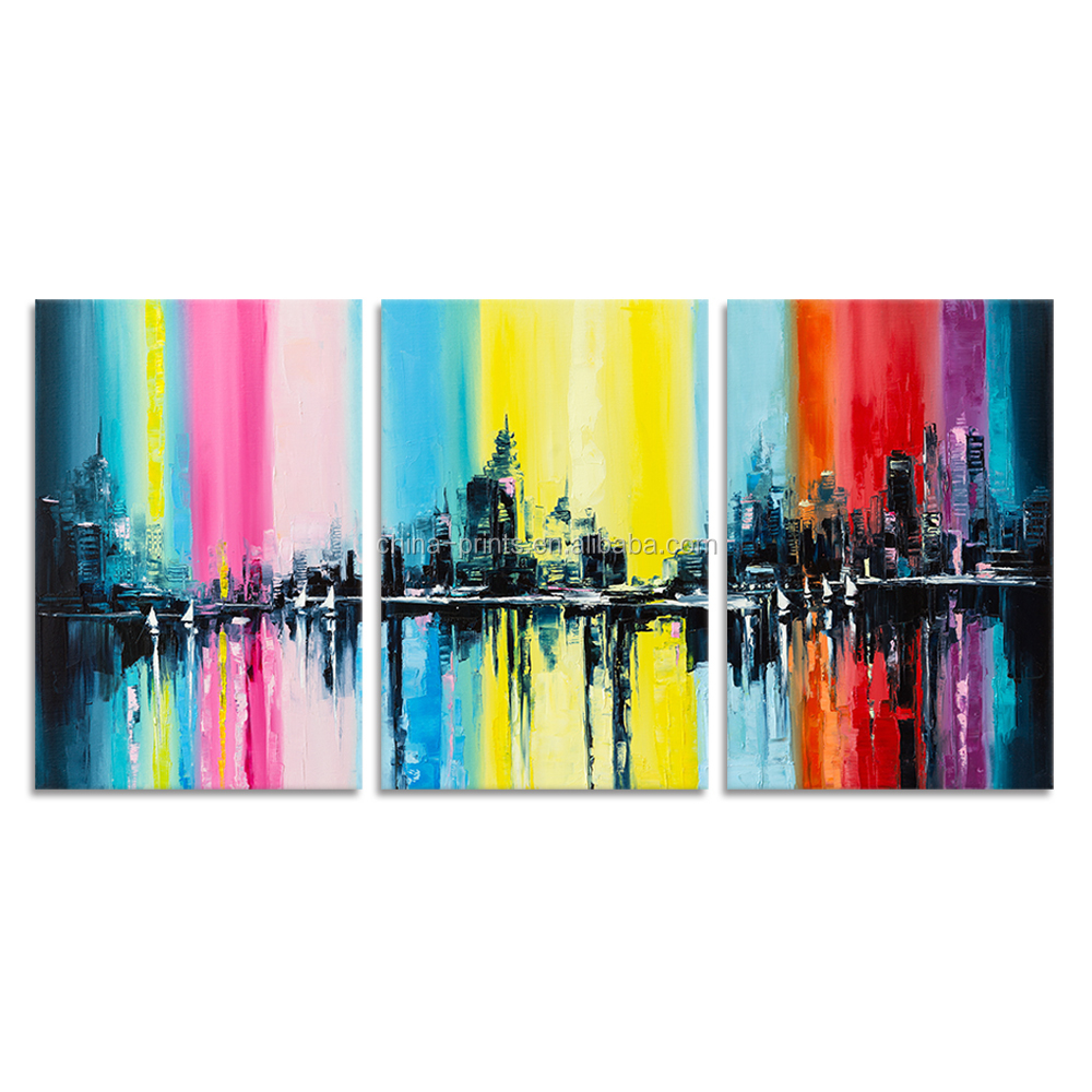 3 Pieces City Canvas Wall Arts Colorful Oil Painting Prints Fine Art Wall Poster for Hotel Living Room Wall Decor Ready to Hang