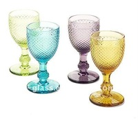 375 ml hand pressed embossed crystal goblet wine glass