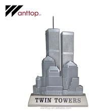 High Quality Souvenir Decoration Gold Silver Plating Metal Craft Skyscraper Twin Towers
