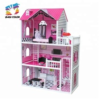 New hottest miniature wooden big doll house for children W06A251B