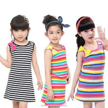 summer <strong>girl's</strong> bow striped print comfortable <strong>Dress</strong> 2-8 years baby clothing