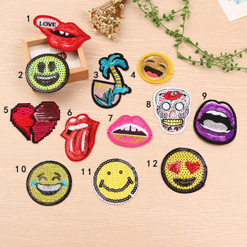 Best selling Smile Face style sequins patch for garments decoration can accept customized BK-MTF2089