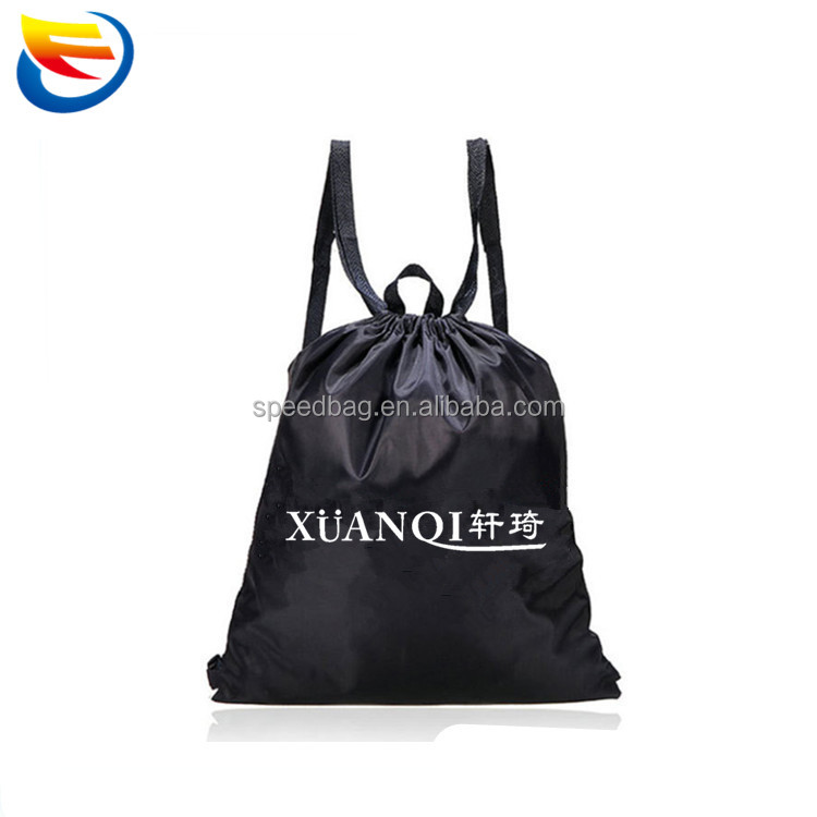 Custom newest webbing drawstring backpack black polyester sports drawstring bag