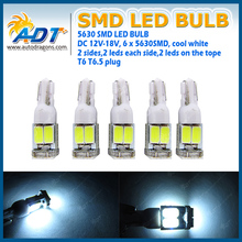 DC12V-18V 6SMD 5630smd car interior led bulb t6.5 wedge indicator bulb dashboard light bulb