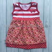 Floral girl dress red stripe girls party dresses wholesale boutique sleeveless dresses for girls of 7 years old